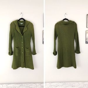 ANTHROPOLOGIE CUE & EMM Green knit Sweater Coat
